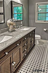 Love this...already doing these floors, but with white rectangular subway tiles. Probably a black vanity. And I love the wall color!!
