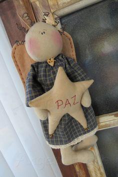 Primitive Christmas Ornaments, Christmas Nativity, Christmas Angels, Xmas, Angel Crafts, Nativity Crafts, Primitive Folk Art, Country Crafts, Fairy Dolls