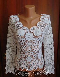 Wie gut sind Russen in gehäkelten Zöpfen? Hier sind die besten Beispiele Freeform Crochet, Filet Crochet, Crochet Lace, Irish Crochet Patterns, Crochet Designs, Japanese Crochet, Baby Cardigan Knitting Pattern, Knitwear Fashion, Irish Lace