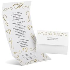 Shimmering gold foil adds rich shine to this bright white, hearts seal and send wedding invitation. A frame of hearts and swirls wraps around your wedding invitation wording. Much like a wedding invitation kit, seal and send invitations come with the important necessities, such as reception wording, a response postcard, return address printing and clear round seals for securing. These wedding invitations are printed on 100 lb bright white paper and feature thermography printing, an…