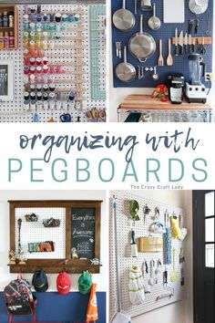 Organizing with Pegboards: Pegboards have infinitely creative uses well beyond your garage. Solve your organizing problems with these 12 genius pegboard organizing ideas for all areas of your house. Pegboard Organization, Home Office Organization, Organizing Ideas, Pegboard Headboard, Family Organizer, Small Shelves, Everything Is Awesome, Neat And Tidy, Wall Spaces