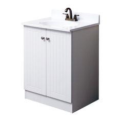 $149... 25inch vanity.  cultured marble top, melamine and mdf doors, brushed nickel handles.  (35h x 17.5deep)