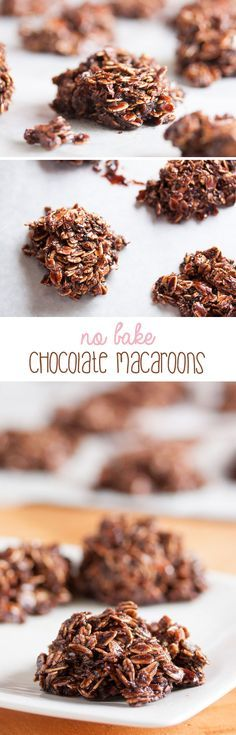 These no-bake chocolate macaroons are dense and fudgy and loaded with chewy oats and coconut. They're almost more like candy than cookie.