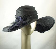 Wide Brim Hat For Women Straw Hat Glamorous Black Hat Purple Flowers