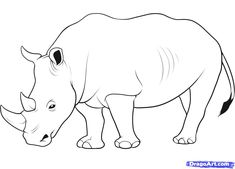"Step Learn How to Draw a Rhino FREE Step-by-Step Online Drawing Tutorials, Great Plain animals, Animals free step-by-step drawing tutorial will teach you in easy-to-draw-steps how to draw ""How to Draw a Rhino"" online. Rhino Pictures, Rhino Art, Animal Cutouts, Cartoon Drawings Of Animals, Butterfly Drawing, Online Drawing, Draw On Photos, Drawing Lessons, Drawing Guide"