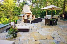 Backyard Fireplace, Flagstone Patio, Two Grills, Seat Walls Outdoor Fireplace Romani Landscape Architecture Glencoe, IL Modern Backyard, Backyard Patio Designs, Diy Patio, Backyard Landscaping, Patio Ideas, Backyard Ideas, Outdoor Ideas, Garden Ideas, Landscaping Ideas