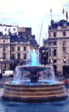 London's fountains are now blue signaling the arrival of the newest member of the British Royal Family ~ HRH Prince George Alexander Louis of Cambridge.