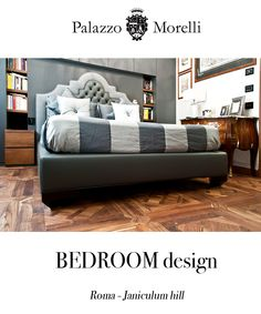 Rome: private apartment in charming Janiculum hill. Custom made bedhead in ultrafine pure cashmere + leather. Bespoke flooring: recovered teak Versailles tiles.
