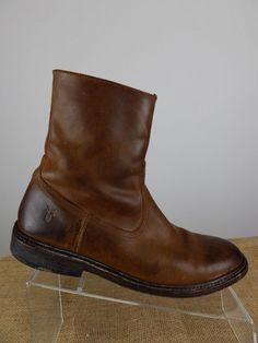 FRYE James Inside Zip Distressed Brown Ankle Chelsea Leather Boot Men 7.5 D $300 #Frye #ChelseaBoots