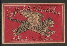 Old Matchbox Labels Japan India China Tiger
