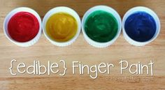 Home Made Finger Paint   3 T sugar  1/2 C cornstarch 2 C cold water  food coloring     Mix sugar and cornstartch together in a sauce pan. Add cold water and combine with a whisk. Cook on medium heat until the mixture thickens to a thin pudding consistency. COOL, split into containers and color.