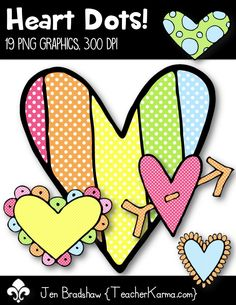 Heart Dots clip art!  These perfectly polka dotted heart graphics are perfect for your Valentine's Day teaching materials!  CU OK.  TeacherKarma.com