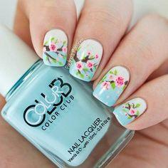 Gorgeous Cherry Blossom Nail Design