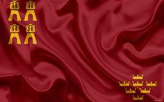 Download wallpapers Flag of Region of Murcia, autonomous community, province, Cartagena, Spain, silk flag