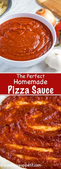 This Homemade Pizza Sauce is the perfect addition to your homemade pizza. Easy to make and packed with flavour — once you make this sauce, you'll never resort to store bought again! Homemade Pickles, Curry, Chili, Soup, Pizza, Ethnic Recipes, Chile, Chilis, Soups