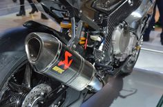 A sexy carbon fiber Akrapovic exhaust lets the engine on the HP4 breathe freely