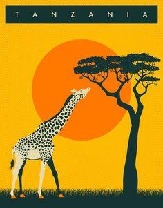 Vintage Travel Poster - Tanzania - Africa.