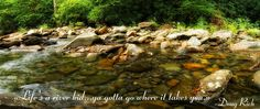 ''Life's a river kid... ya gotta go where it takes you.'' - Doug Rich #quotes #river #nature #water #stones