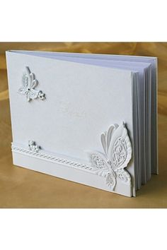 White Resin Butterfly Themed Wedding Guest Book   LynnBridal.com