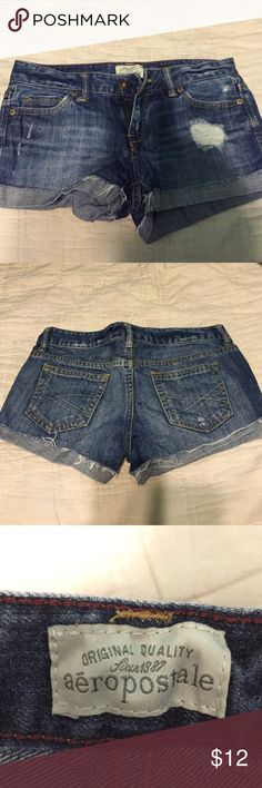 100% cotton jean shorts Great condition/ distressed denim shorts/ 8 inch long Aeropostale Shorts Jean Shorts