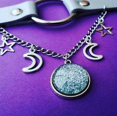 fecc82c3690f Celestial o ring collar - o ring choker - moon and star necklace - pastel  goth - soft grunge - moon choker