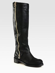 Jimmy Choo - Doreen Oiled Leather Knee-High Biker Boots