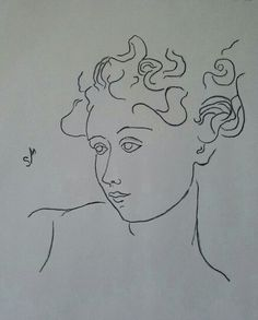 Face with flying hair, Sarah Myers.  Charcoal, minimal line-drawing.