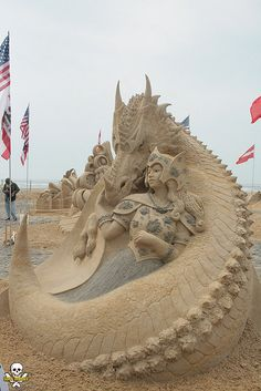 sand sculpture by Karen Fralich 20130617 at Chelsea Heights Atlantic City NJ Championships photo by Carl Tony Gebely Wang 9175571686 Snow Sculptures, Sculpture Art, Metal Sculptures, Abstract Sculpture, Bronze Sculpture, Fantasy Creatures, Mythical Creatures, Image Pinterest, Sand Play