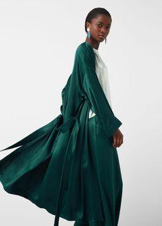 Robe de chambre satinée - Veste pour Femme | MANGO France