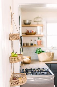 Hanging Fruit Basket- Hanging Kitchen Basket- Three Tiers Basket- Tiered Basket- Kitchen Storage Basket – Home living color wall treatment kitchen design Boho Kitchen, Kitchen Dining, Rustic Kitchen, Hippie Kitchen, Homey Kitchen, Scandinavian Kitchen, Country Kitchen, Hanging Fruit Baskets, Hanging Basket Storage