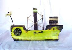 yellow 2 little ship Beach House Lighting, Pallet Wall Art, Boat Art, Wood Boats, Nautical Art, Wood Creations, Salvaged Wood, Driftwood Art, Wooden Art