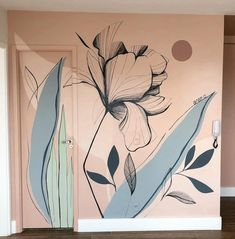 Diy Wall Painting, Plant Painting, Mural Painting, Mural Wall Art, Diy Wall Art, Flower Mural, Art Area, Home Wallpaper, Wall Design