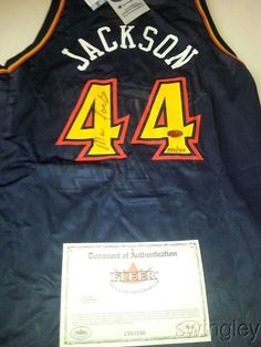 new product 189e3 5df1b Marc Jackson Signed Golden State Warriors Jersey FLEER