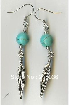 Fashion  50 Pair Antiques Silver  Feather &Turquoise Dangle Earrings 925 For Women With Gift Box  DIY Jewelry  M 2797-in Drop Earrings from Jewelry on Aliexpress.com