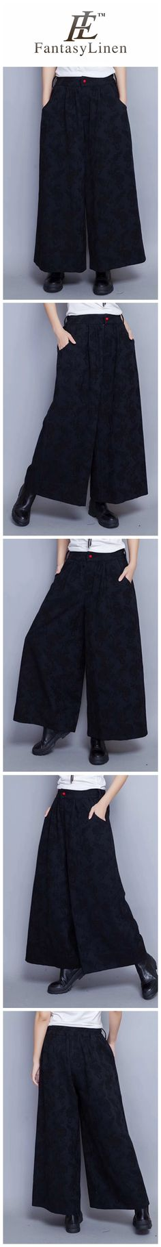 Flower Autumn Winter Wide Legs Long Pants Women Clothes R9009  R9009
