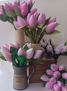 Купить Одним весенним утром (тюльпаны) - бледно-розовый, розовые тюльпаны, тюльпаны, тюльпаны из ткани