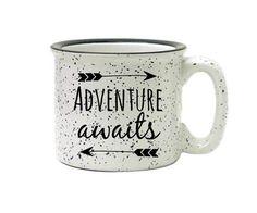 Coffee Mug Camping Mug Stoneware Mug 15oz Mug Ceramic Mug Adventure Awaits Mug…