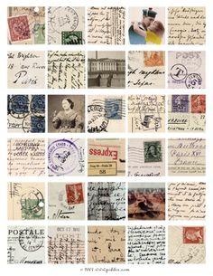 Vintage Postcards Collage Sheet