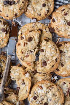Cookie Recipes, Dessert Recipes, Desserts, Best Disneyland Food, Cowboy Cookie Recipe, Pecans, Chocolate Chip Cookies, Cookie Dough, Christmas Cookies