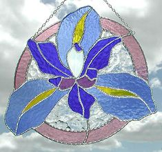 "Decorative Blue Floral Stained Glass Sun Catcher - 9 1/2"" x 10"" -_ $43.95"