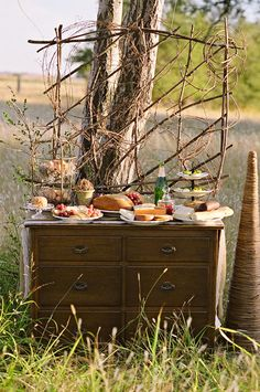 fruit, cheese, and bread table