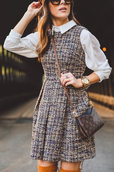 I love the fabric on this Gal Meets Glam dress. Great pairing with the blouse. Classy Outfits, Chic Outfits, Fall Outfits, Fashion Outfits, Preppy Fashion, Casual Preppy Outfits, Fashion Fashion, Fashionable Outfits, Dope Outfits