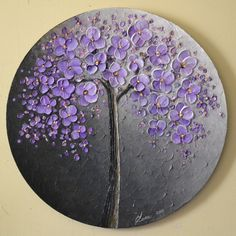 "ORIGINAL Fine Art Modern Textured Lavender Blossom Tree Painting Landscape Home Decor 20"" Abstract Palette Knife Artwork by ZarasShop"