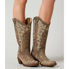 Corral Embroidered Cowboy Boot - Brown US 6 ($209) ❤ liked on Polyvore featuring shoes, boots, brown, vintage western boots, tall cowgirl boots, western boots, tall cowboy boots and cowgirl boots