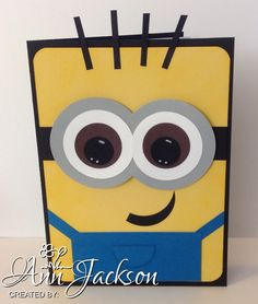 Minion card made with various Stampin Up punches & card stock.