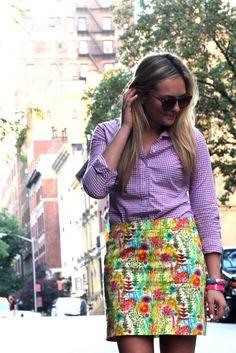 Gingham Shirt + Floral Skirt