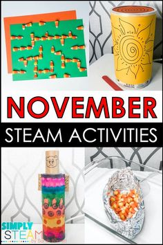 Thanksgiving STEM activities and challenges - These November STEM activities are perfect for kids in kindergarten, first grade, and/or second grade! This includes 5 different STEM activities and projects! Click the link to learn more about these activities from teacherspayteachers. #STEMeducation Fun Classroom Activities, Spelling Activities, Steam Activities, Spelling Ideas, Reading Activities, Science Activities, Classroom Fun, Force And Motion, Stem Challenges