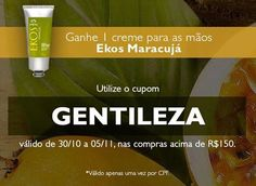 Nas compras acima de R$150, com o cupom GENTILEZA, ganhe uma polpa hidratante para mãos Natura Ekos maracujá 75g.  O brinde vale R$31,90!  Clique e compre: http://rede.natura.net/espaco/carolinadovalle  E nas compras de 30 a 05/11 você ainda GANHA um CUPOM* para usar na BLACK FRIDAY (27/11)!  CORRA! Validade: de 30 a 05/11, ou limitação máxima de 1000 usos.  #natura #redenatura #promo #promoção #cupom #desconto #brinde