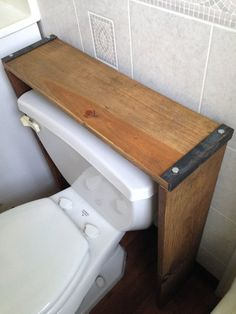 Bathroom Shelf // Over The Toilet Shelf // Reclaimed Wood & Steel