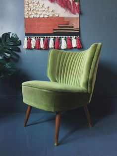 Vintage 1950's Green Velvet Cocktail Chair – Homeplace